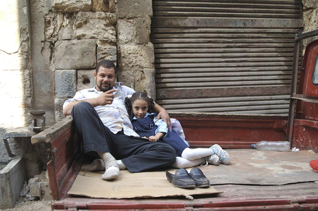 Padre e hija en el Cairo Egipto